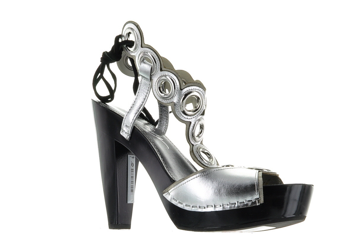 209 Miss Sixty Sixty Sixty Schuhes Silver Leder Größe US 9 IT 39 ITLY 7558 1061b2